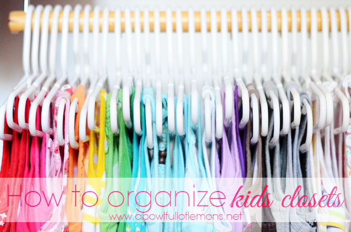 kids closet organization with colors