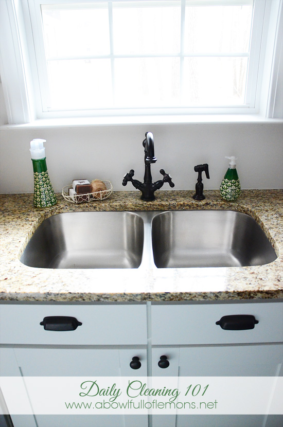 Kitchen Sink Cleaning Daily cleaning 101 step 1 the kitchen a bowl full of lemons clean out the sink 3 workwithnaturefo