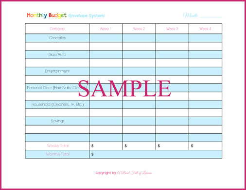 Household Budgeting Day 5 Cash Spending – Baby Budget Worksheet