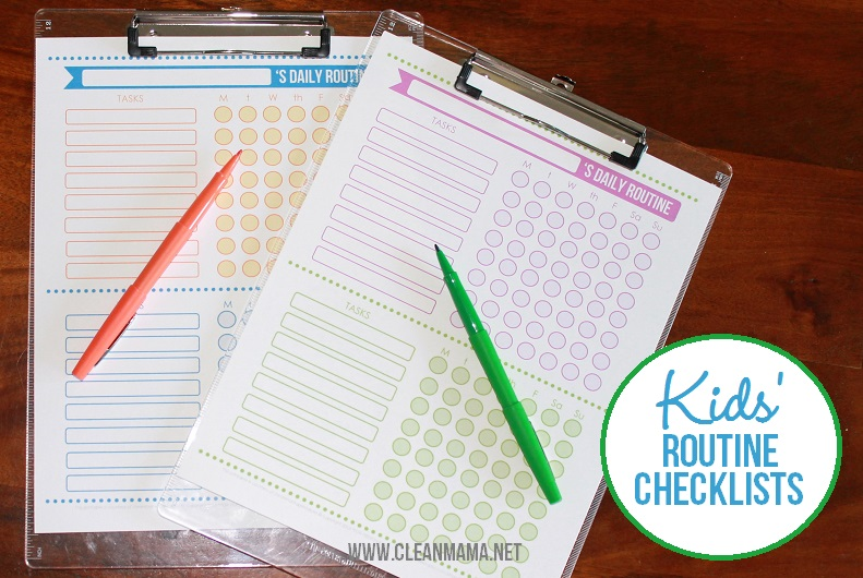 Free Kids Routine Checklists - via ABFOL