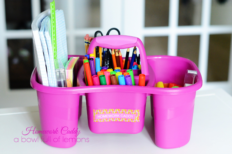 Homework Caddy Organization... | A Bowl Full of Lemons