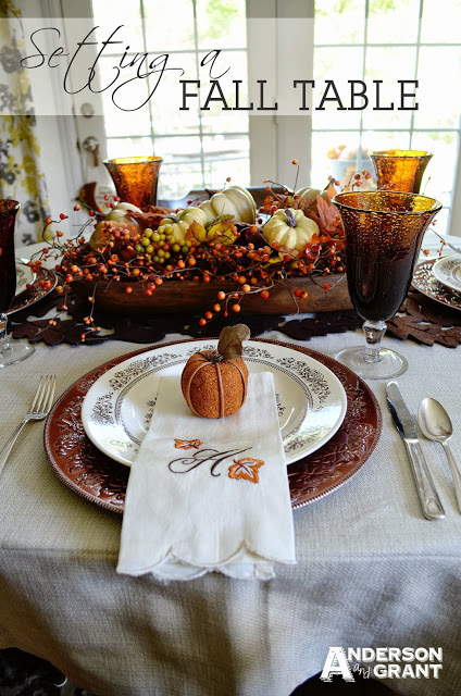 Decorating a Fall Table - link party on A Bowl Full of Lemons