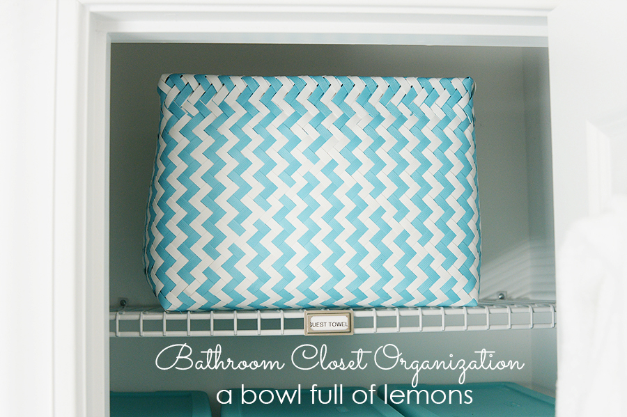 Bathroom Closet Organization by A Bowl Full of Lemons