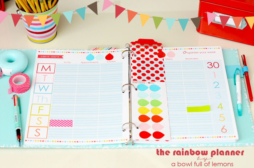 Rainbow Planner Printable Bundle via A Bowl Full of Lemons