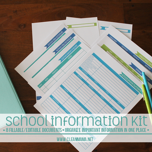 School Information Kit - Clean Mama Printables