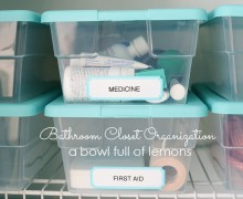 Bathroom Organization via A Bowl Full of Lemons