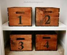 numbered crates to organize a closet
