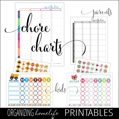 Printable Chore Charts via Organizing Homelife