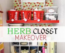 Herb Closet Makeover via A Bowl Full of Lemons link party