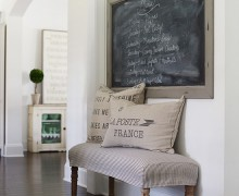 Farmhouse Bench Makeover via A Bowl Full of Lemons