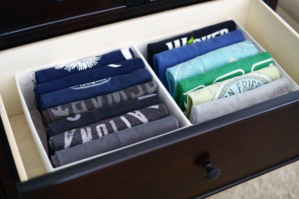 Organizing challenge master bedroom a bowl full of lemons for T shirt drawer organization