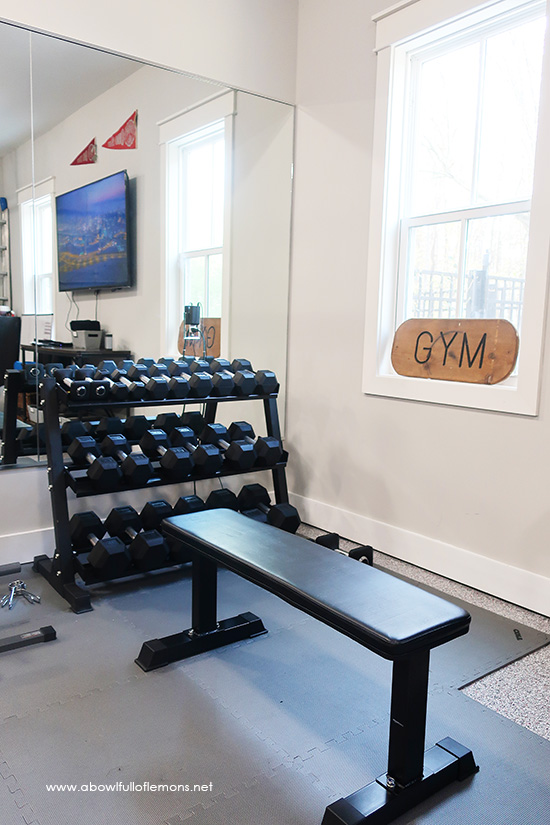 Home Gym Organization | A Bowl Full of Lemons Small Home Weight Room Design on home workout room design, home gym design, small home theater room design, garage weight room design, small home media room design,