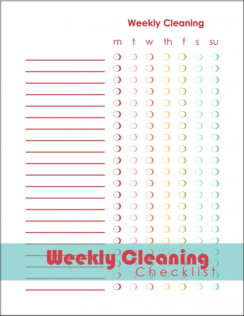 Weekly Cleaning Checklist via A Bowl Full of Lemons