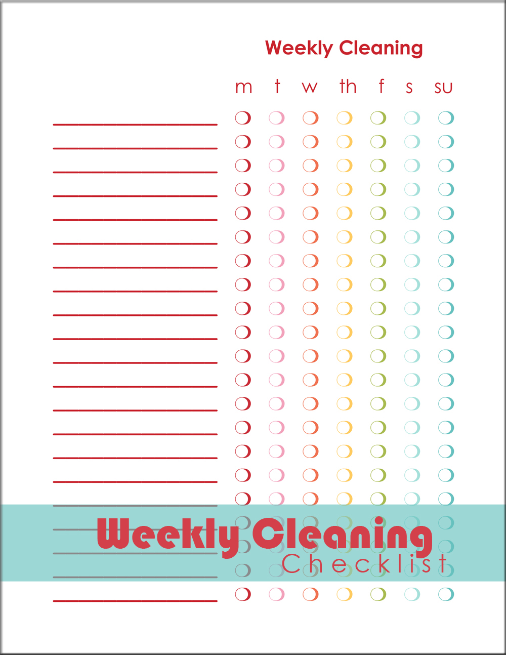 Weekly Cleaning Checklist – Weekly Checklist