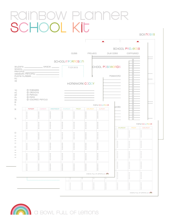 Rainbow Planner School Kit by ABFOL
