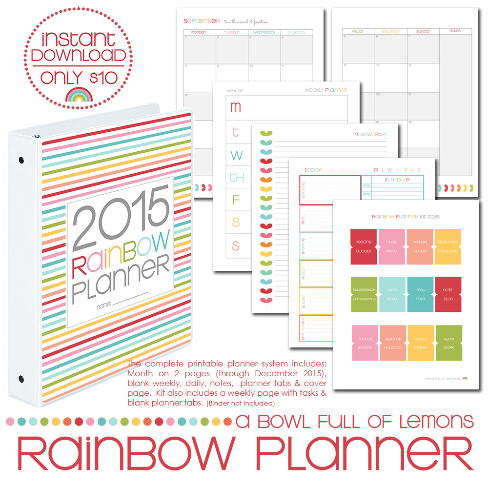 2015 Rainbow Planner Core Kit - Printables by A Bowl Full of Lemons