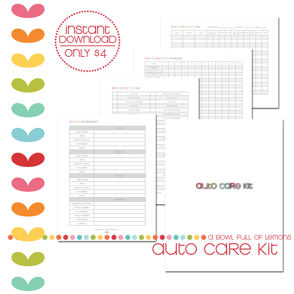 Auto care Printable kit via A Bowl Full of Lemons