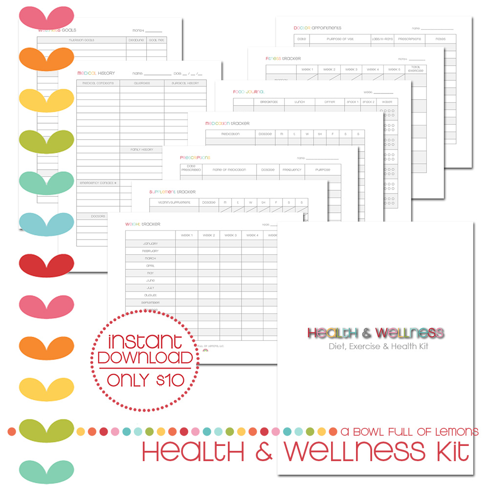 Health & Wellness Printable Kit via A Bowl Full of Lemons