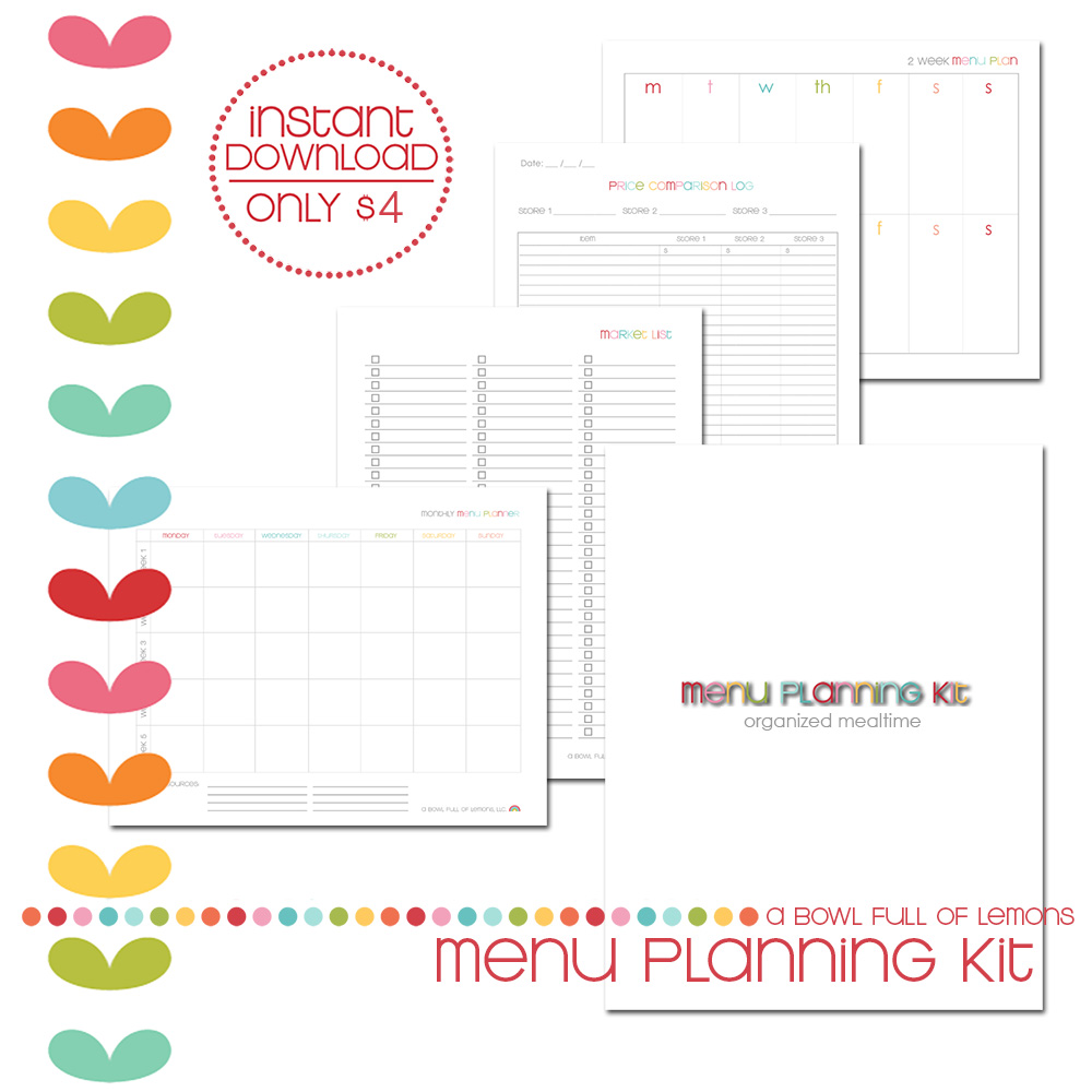 Menu Planning Printable Kit via A Bowl Full of Lemons