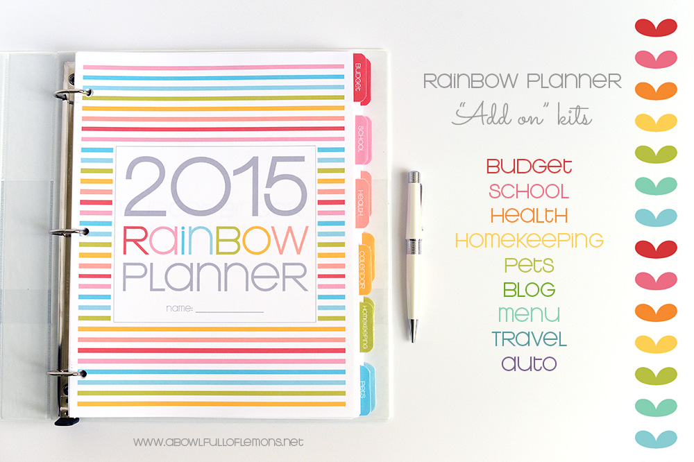 Rainbow Planner Add On Kits via A Bowl Full of Lemons