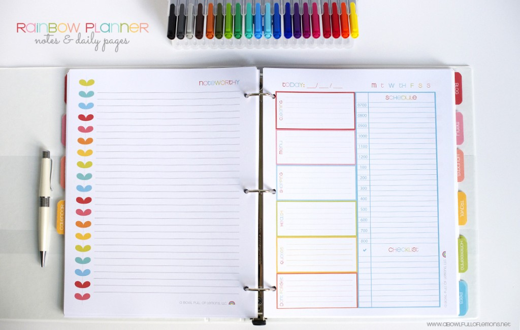 Rainbow Planner Notes & Daily Pages via A Bowl Full of Lemons