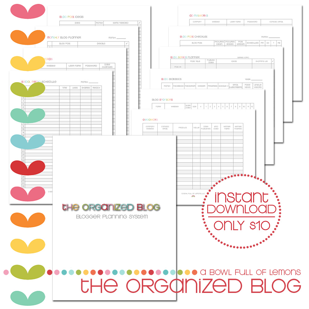 The Organized Blog Printable Kit via A Bowl Full of Lemons