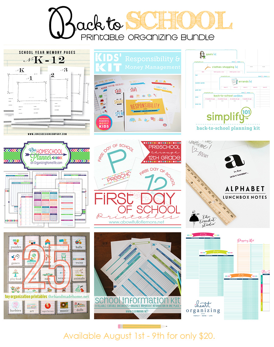 Back to School Printable Organizing Bundle