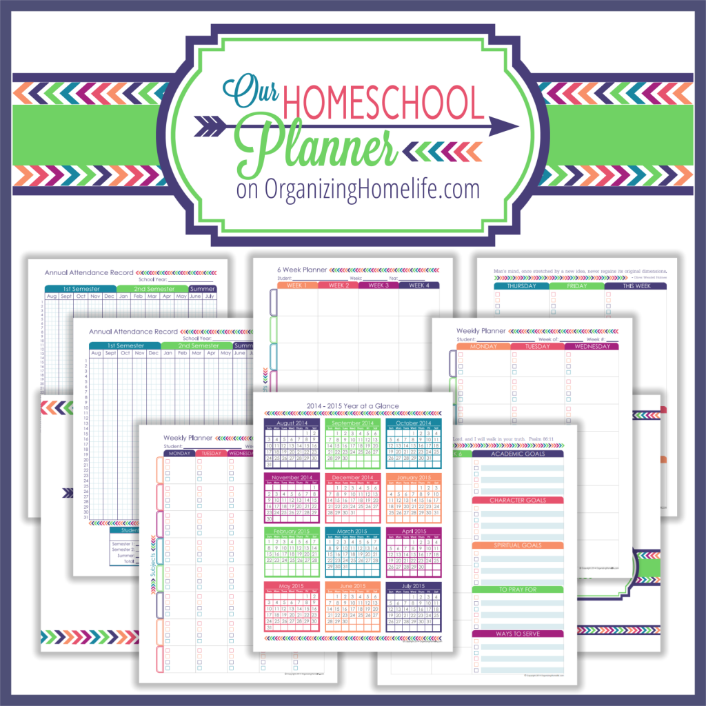 Homeschool Planner via Organizing Homelife