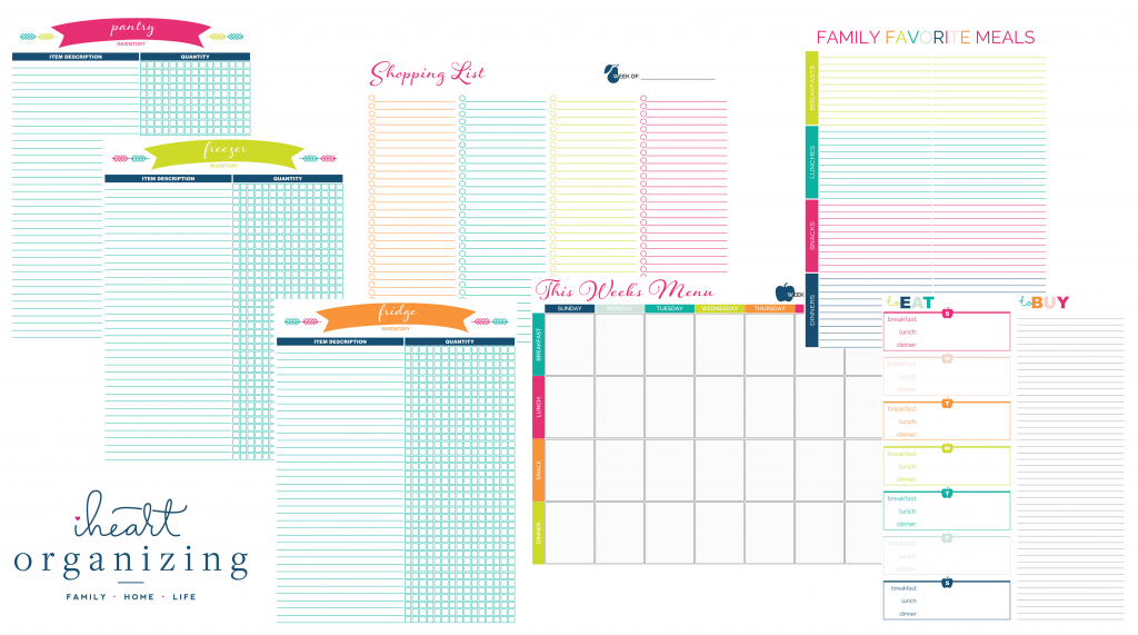 I Heart Organizing Meal Planning Printables