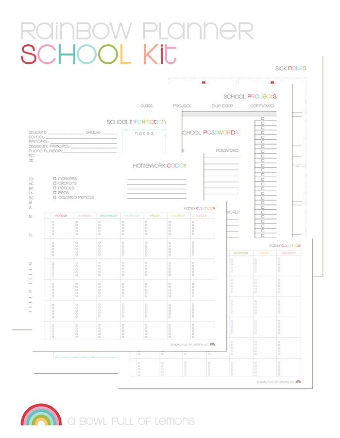Rainbow Planner School Kit by ABFOL
