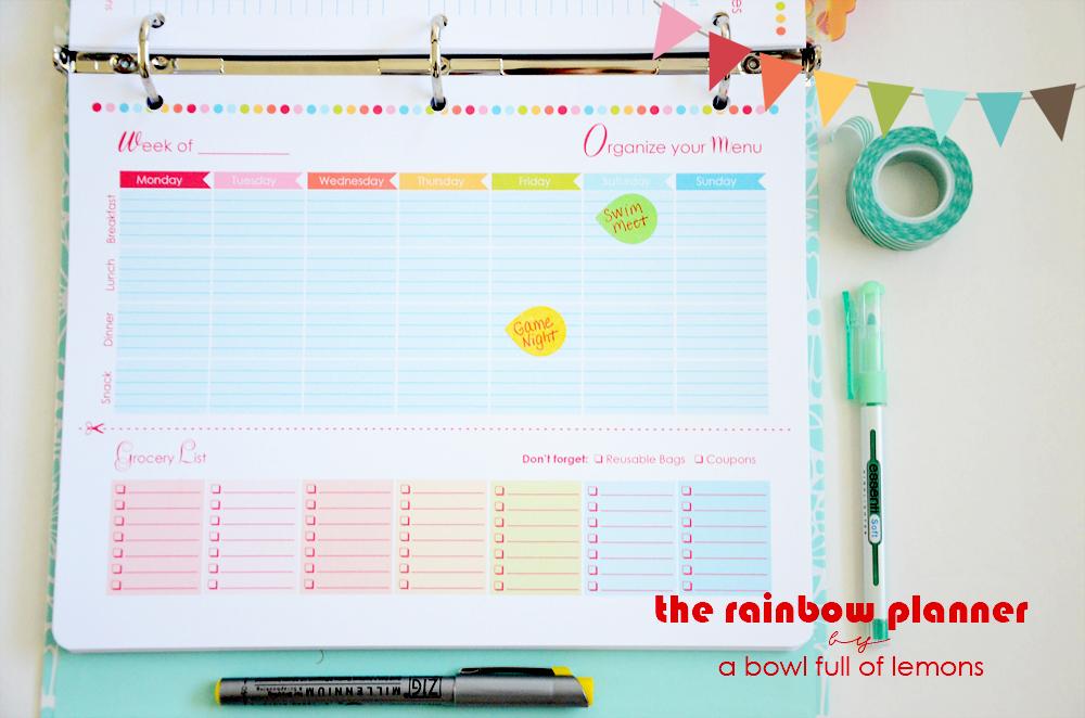 Menu Planning Mini Kit via A Bowl Full of Lemons