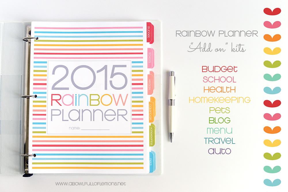 Rainbow Planner Add On Kits via A Bowl Full of Lemons